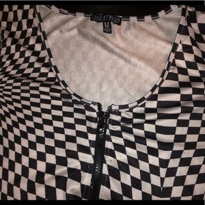 Current Mood Checkered Crop Top